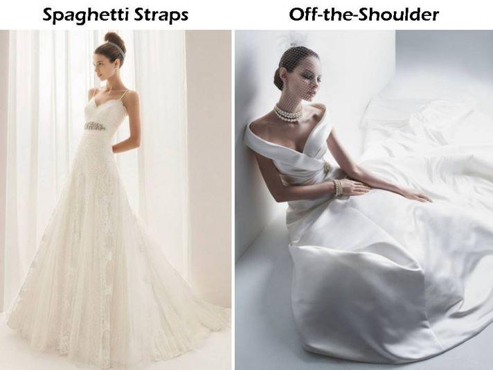 Spaghetti strap Aire Barcelona wedding dress; off-the-shoulder Oleg Cassini wedding dress