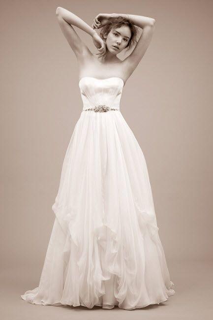 A-line strapless wedding dress with jeweled bridal belt by Jenny Packham