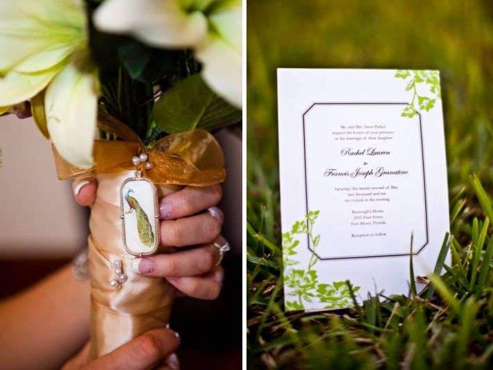 Bride holds all-white bridal bouquet; gorgeous sage green, purple and white wedding programs