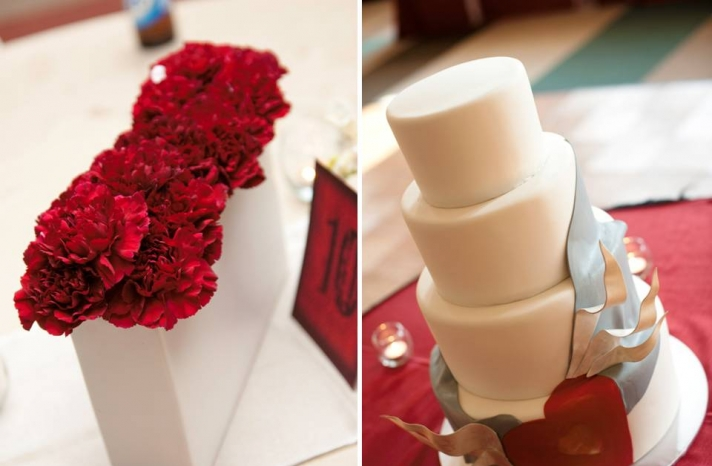 red-carnations-white-modern-vase-wedding-reception-table-decor-modern-ivory-wedding-cake