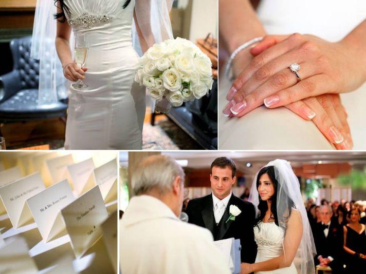 Manhattan bride wears white Simone Carvalli wedding dress, brilliant round diamond engagement ring