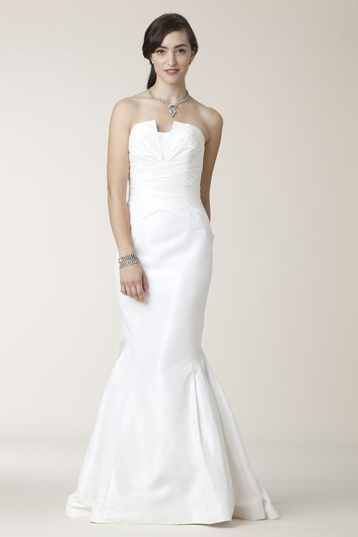 White strapless trumpet wedding dress from Amy Kuschel's 2011 collection