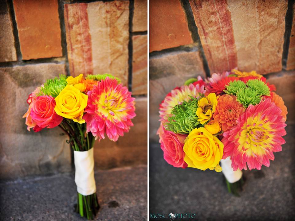 Gorgeous pink coral yellow green wedding flowers and bridal bouquet