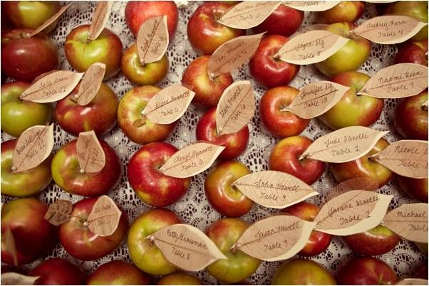Handmade eco-friendly wedding reception escort cards made from apples