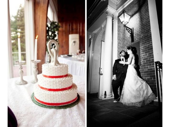 Classic white wedding cake made with vegan ingredients red band details
