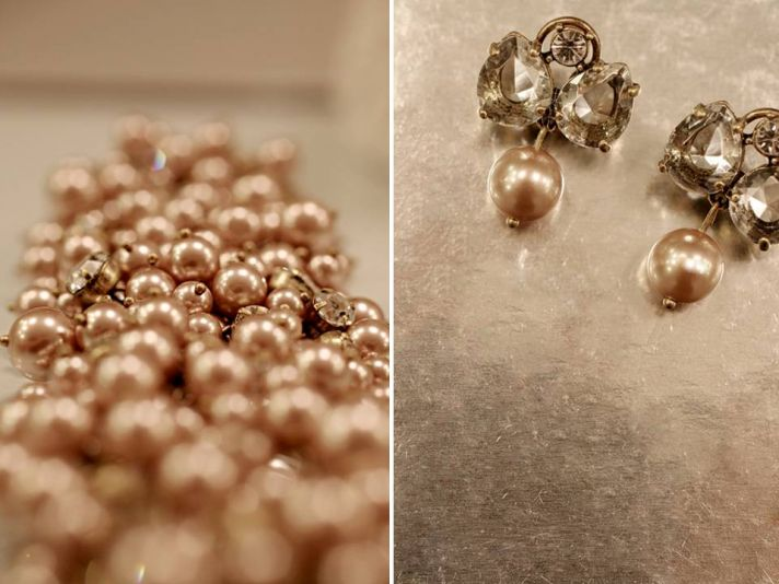 J.Crew bridal jewelry- champagne pearls bridal necklace, topaz bridal earrings