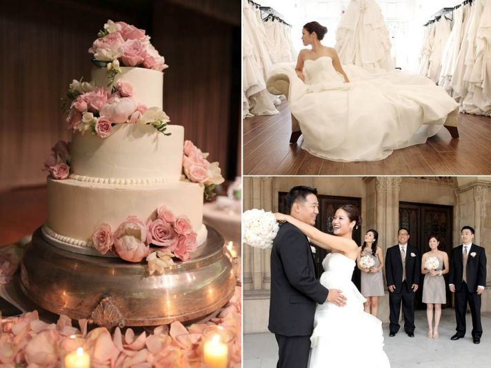 White three tier wedding cake adorned with romantic blush pink rose petals