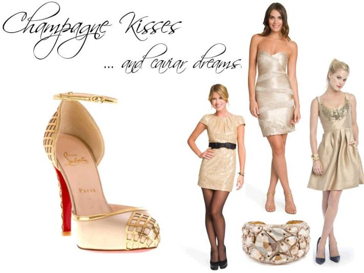 Pop the bubbly while wearing a sassy champagne-toned cocktail frock
