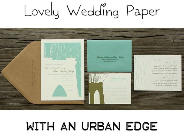 Wedding invitation suite featuring city landscape of Brooklyn Bridge