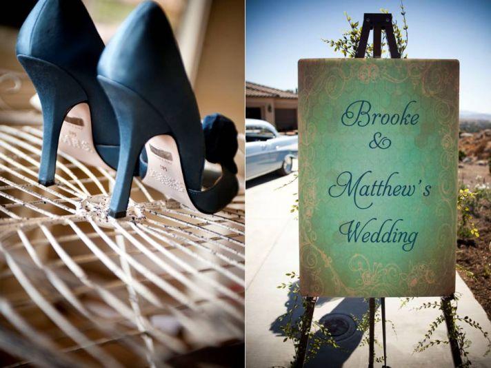 Sky high blue suede bridal heels and custom wedding sign