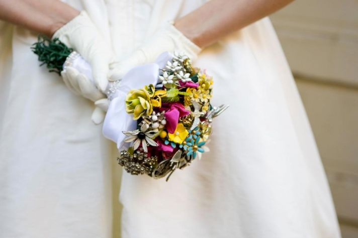 Dazzling eco-chic bridal bouquet made from vintage brooches