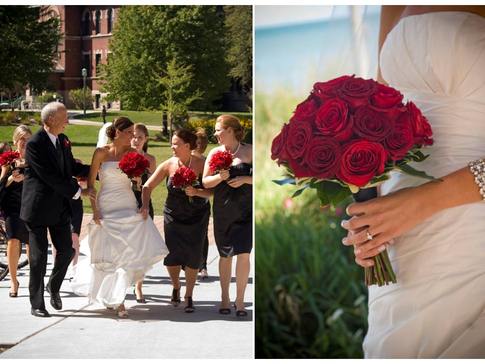 Summer wedding in chicago red rose bridal bouquet white wedding dress