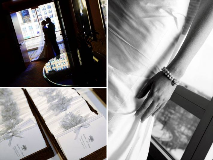 Chic white and black wedding programs; bride and groom kiss in front of city skyline