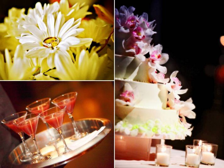 White and yellow daisies surround the bride's diamond engagement ring; white wedding cake adorned wi