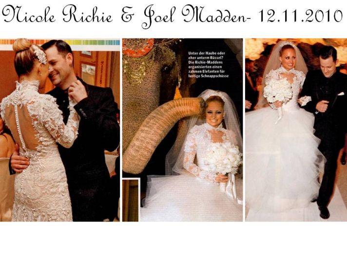 Nicole Richie weds Joel Madden on 12.11.2010; wears 3 Marchesa wedding dresses