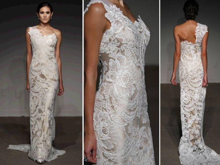 Stunning ivory lace over champagne satin 2011 wedding dress