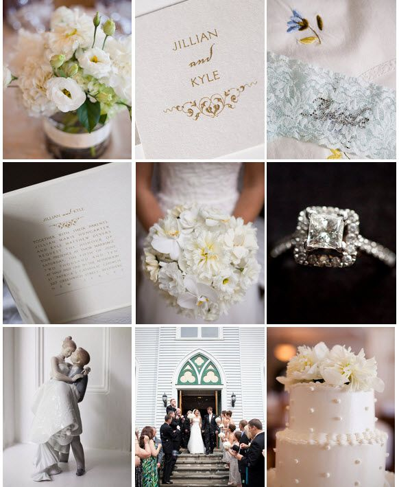 Romantic wedding details- neutral color palette of ivories and champagne, stunning diamond engagemen