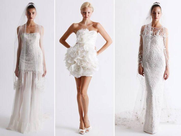 Romantic curve-hugging lace wedding dresses by Marchesa