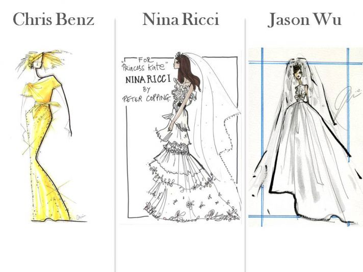 Bridal designers Chris Benz, Nina Ricci and Jason Wu sketch their dream wedding dress for Kate Middl