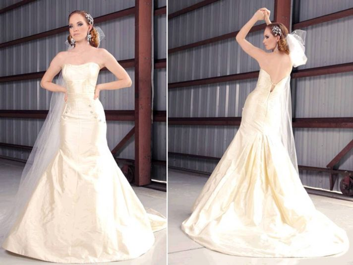 Ivory silk shantung strapless drop waist wedding dress by Jorge Manuel