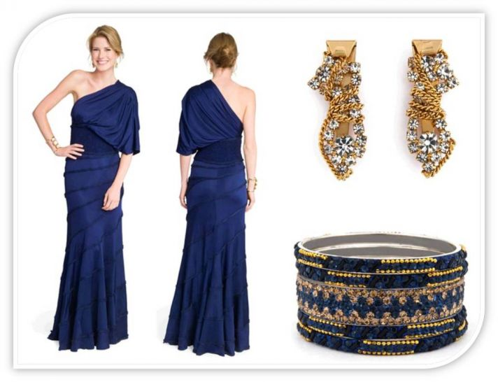 Midnight blue one-shoulder full length bridesmaid dress and gold accessories
