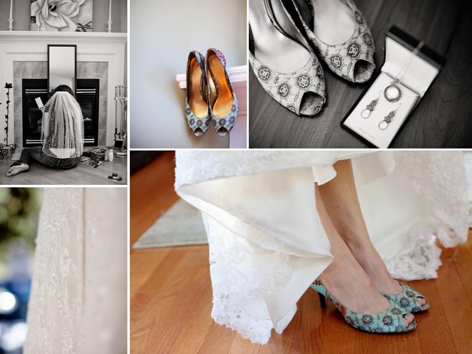 Funky patterned peeptoe bridal heels and ivory lace wedding dress