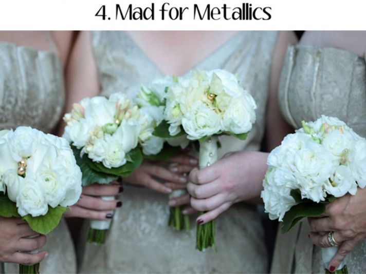 Metallics will be used alone, or with bright pops of color, for 2011 wedding color palettes