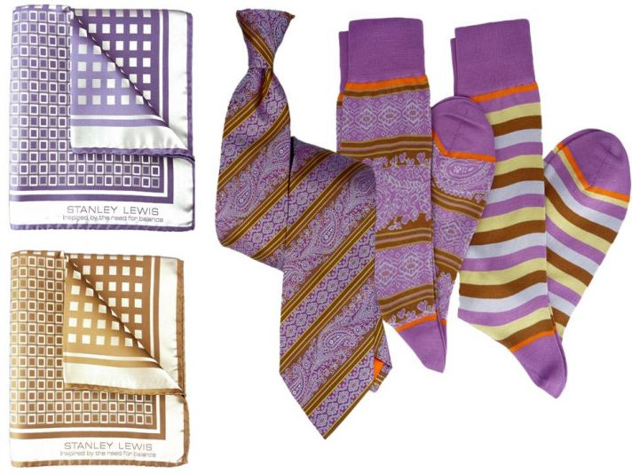Vibrant purple, orange and rust luxury formalwear accessories for your groom