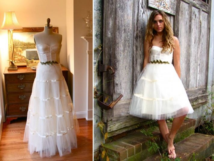Whimsical corset and tulle ballgown wedding dress