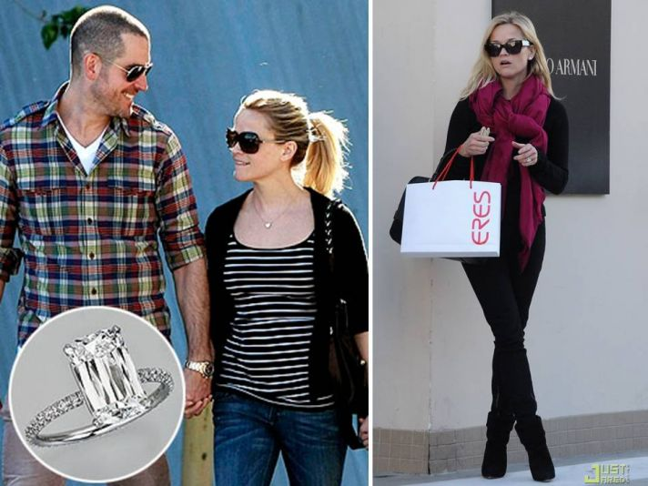 Reese Witherspoon is engaged! And her platinum engagement ring features a 4-carat Ashoka diamond