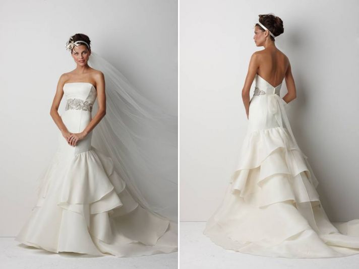 Chic strapless ivory drop waist wedding dress with rhinestone-encrusted bridal belt