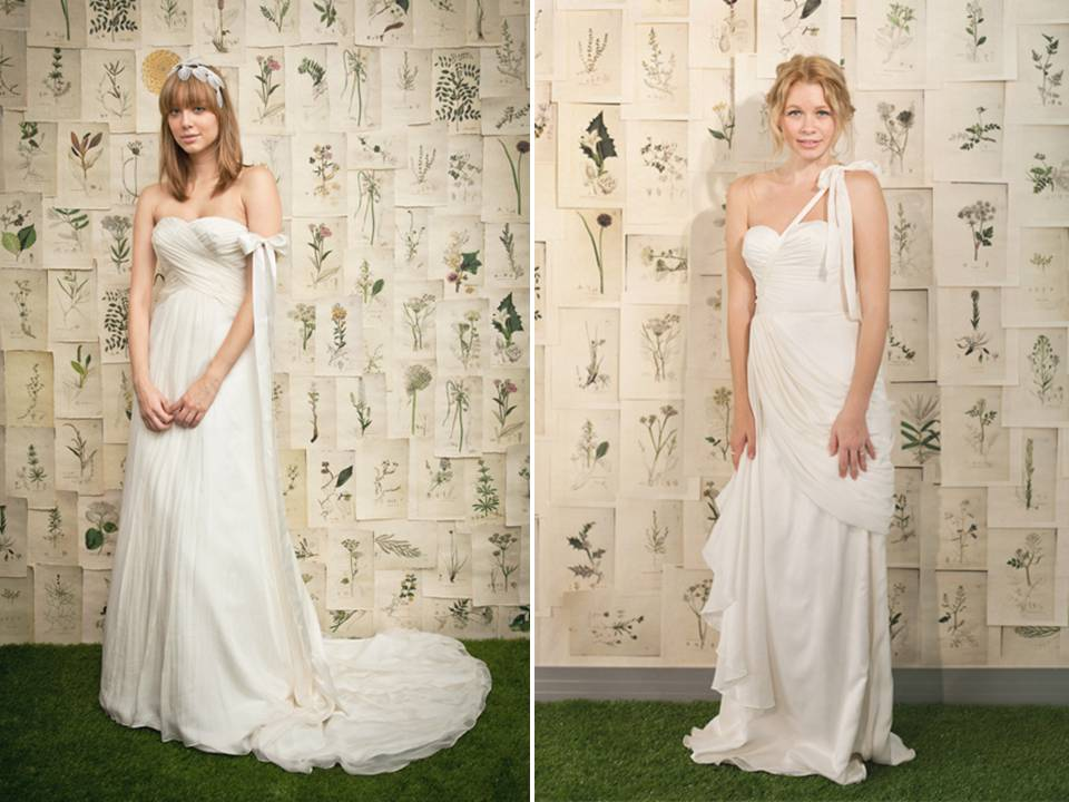 White Grecianinspired draped wedding dresses by Ivy Aster