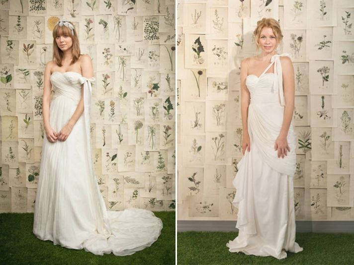 White Grecian-inspired draped wedding dresses by Ivy & Aster