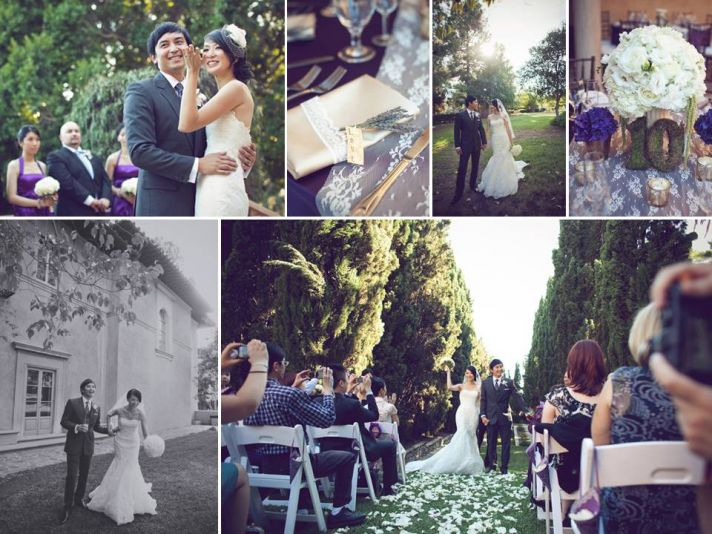 Romantic outdoor garden wedding with white wedding flowers