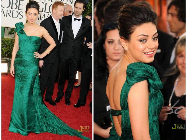 Mila Kunis donned a emerald green Vera Wang dress at the 2011 Golden Globes