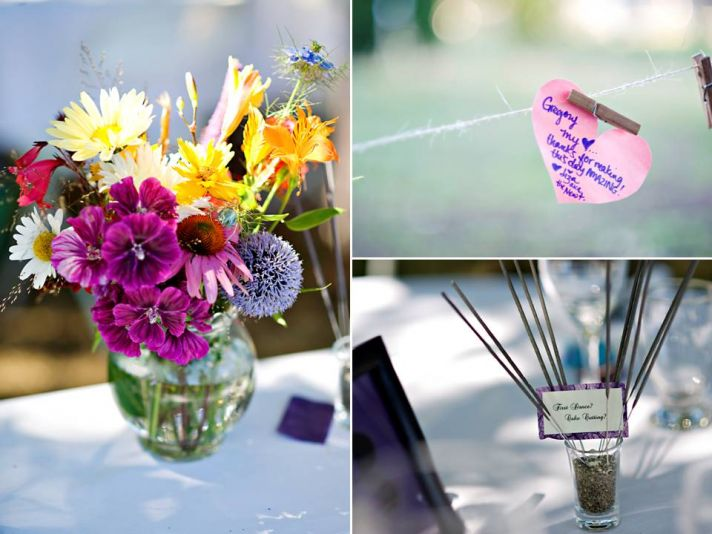 Whimsical bright wedding flower centerpieces, unique spin on wedding guest book