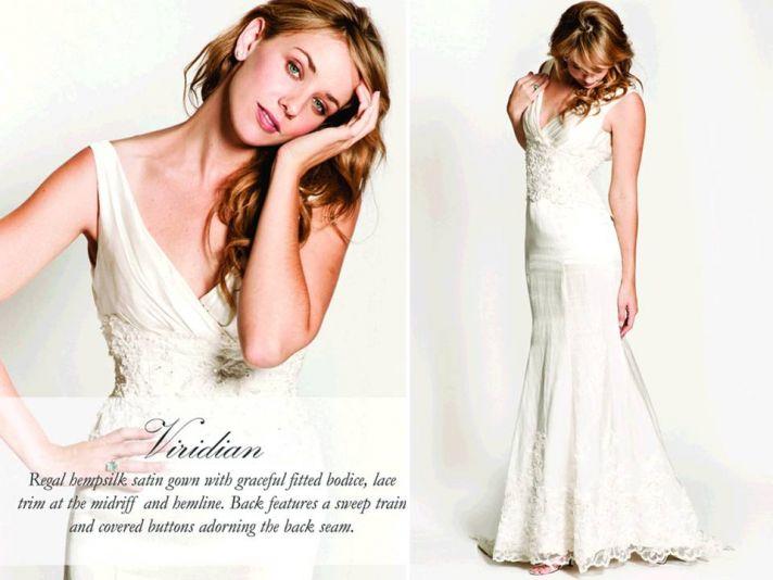 V-neck ivory mermaid eco-friendly wedding dress with beading embellishment