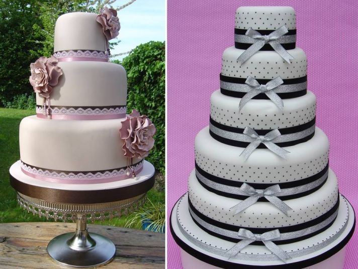 Romantic and feminine round stacked fondant wedding cakes