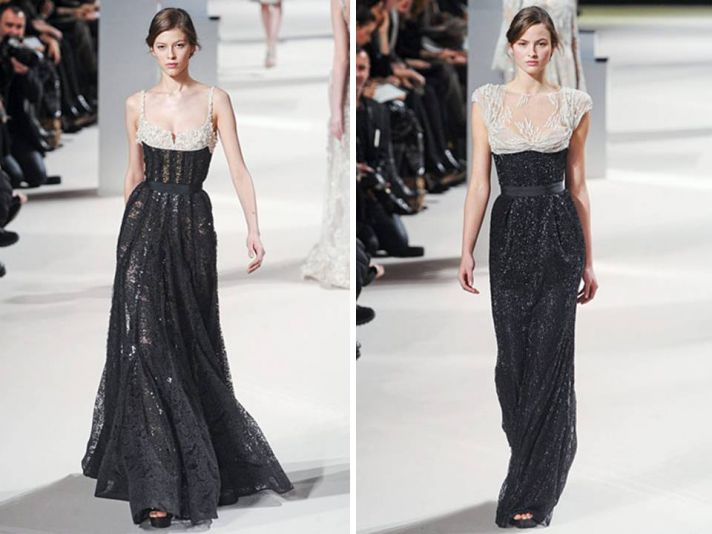 Black and ivory lace haute couture gowns by Elie Saab
