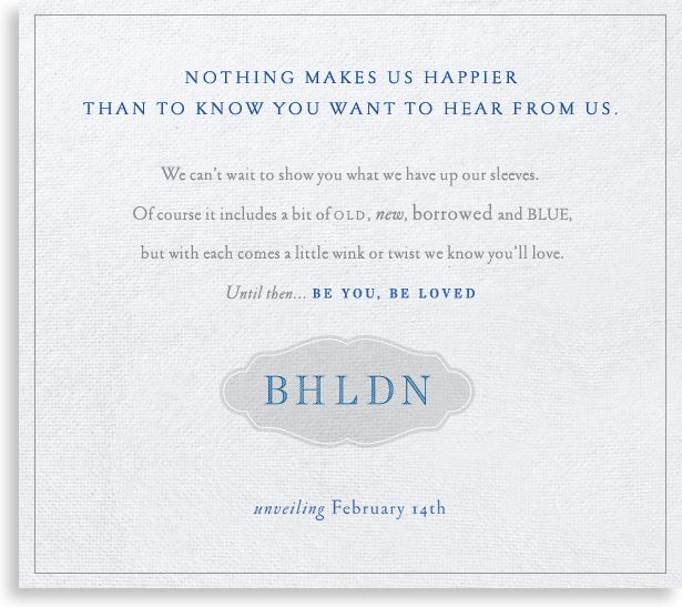 Anthropologie's new bridal line will launch Valentine's Day, 2011