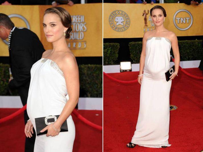 Natalie Portman wore wedding day white down 2011 SAG red carpet- strapless white column gown by Azza