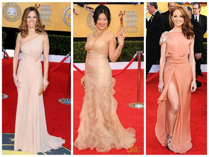 Blush and nude red carpet gowns from 2011 SAG Awards