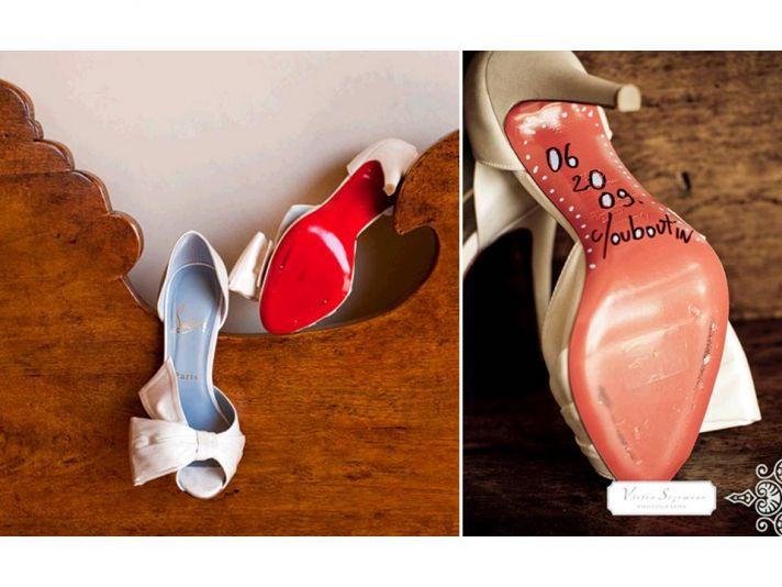 California bride wears peep-toe ivory Christian Louboutin bridal heels