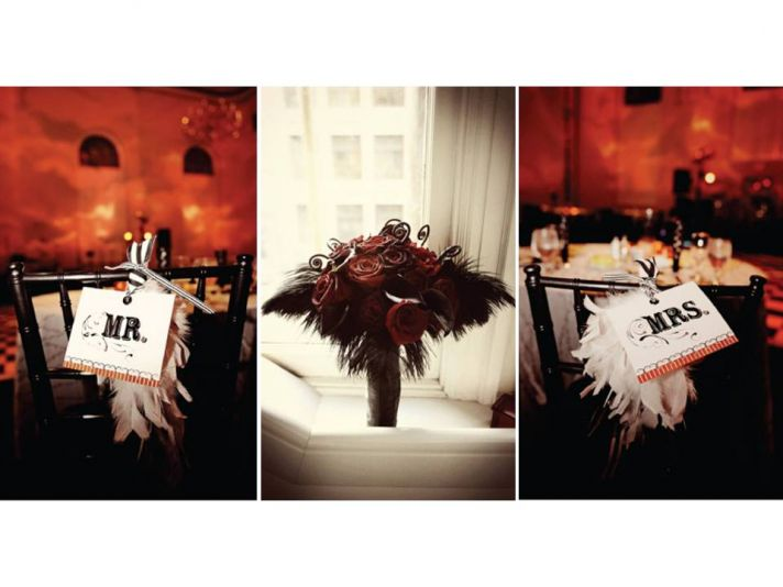 Vintage chic Mr. and Mrs. wedding signs for Old Hollywood Glam wedding reception