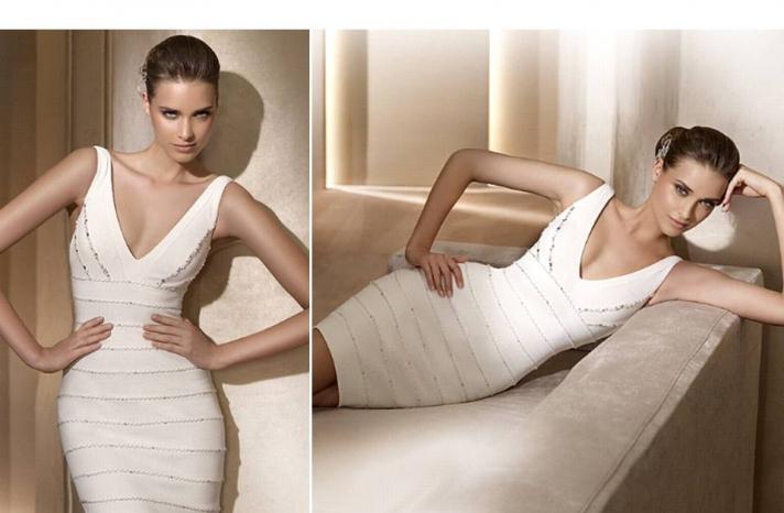 pronovias-wedding-dresses-2011-city-above-the-knee-herve-leger-inspired-v-neck-white-reception-dress