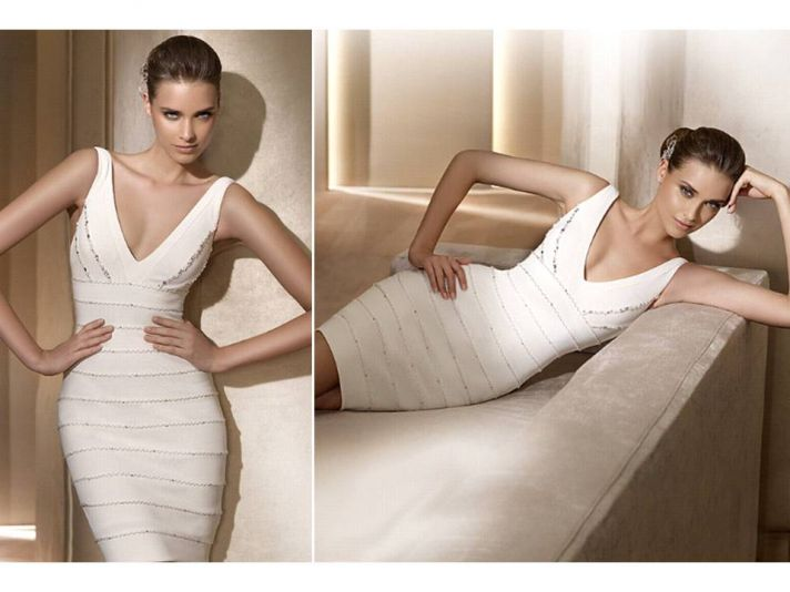 Little white dresses for your wedding reception pronovias for White dress for wedding reception