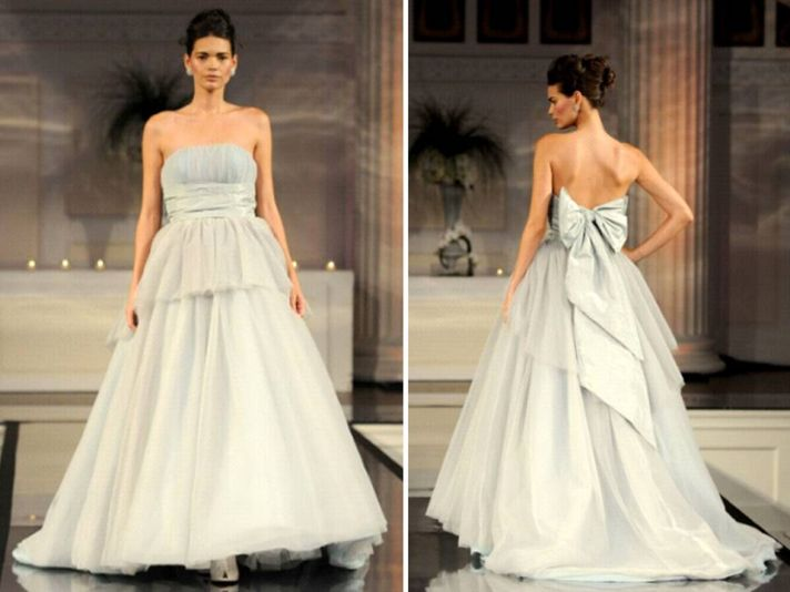 Silver ball gown strapless wedding dress from 2011 David Meister bridal collection