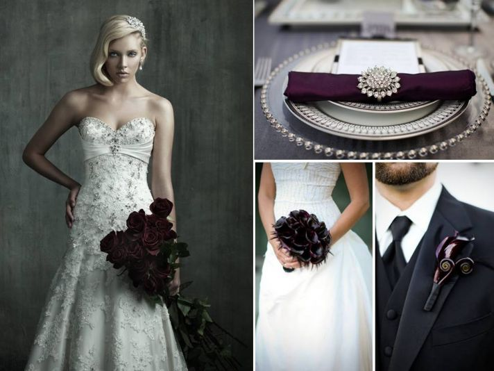Strapless ivory beaded romantic wedding dress; deep purple and black wedding flowers and decor