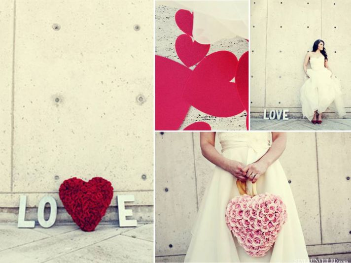 Romantic red, ice blue and ivory Valentine's Day wedding photos