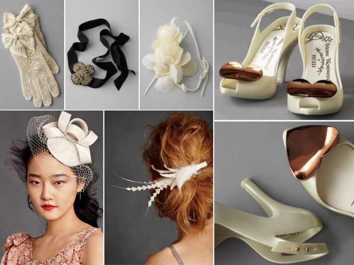 Vintage chic bridal heels, gloves and hair accessories